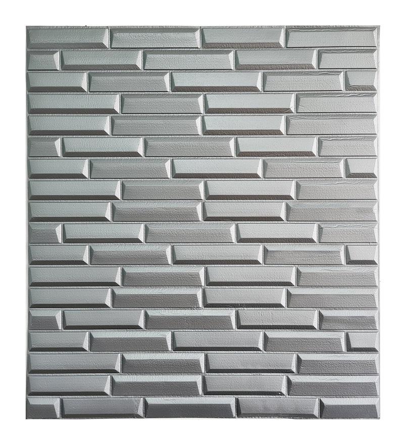 Painel Placa 3D Estilo Espuma Adesiva Tijolinho Prata 77 X 70 Parede