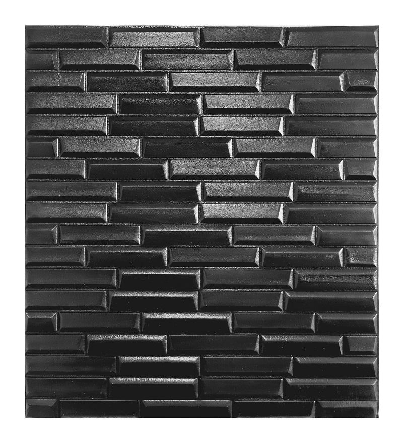Painel Placa 3D Estilo Espuma Adesiva Tijolinho Preto 77 X 70 Parede