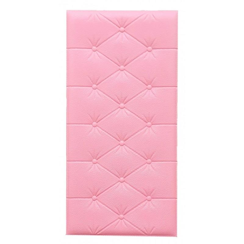 Painel Placa 3D Estilo Espuma Rosa Adesiva 60 X 30 Parede