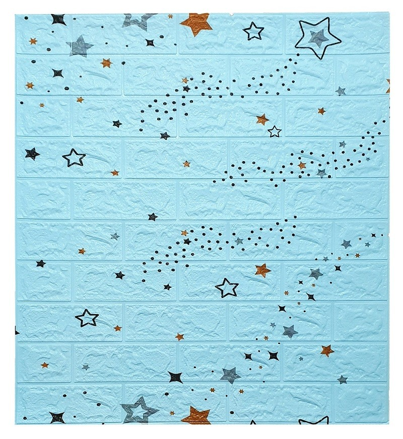 Painel Placa 3D Estilo Estrelas Azul Espuma Adesiva 77 X 70 Parede