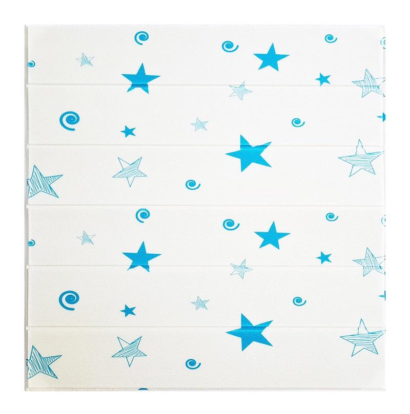 Painel Placa 3D Estilo Madeira Estrelas Azuis Espuma Adesiva 77 X 70 Parede