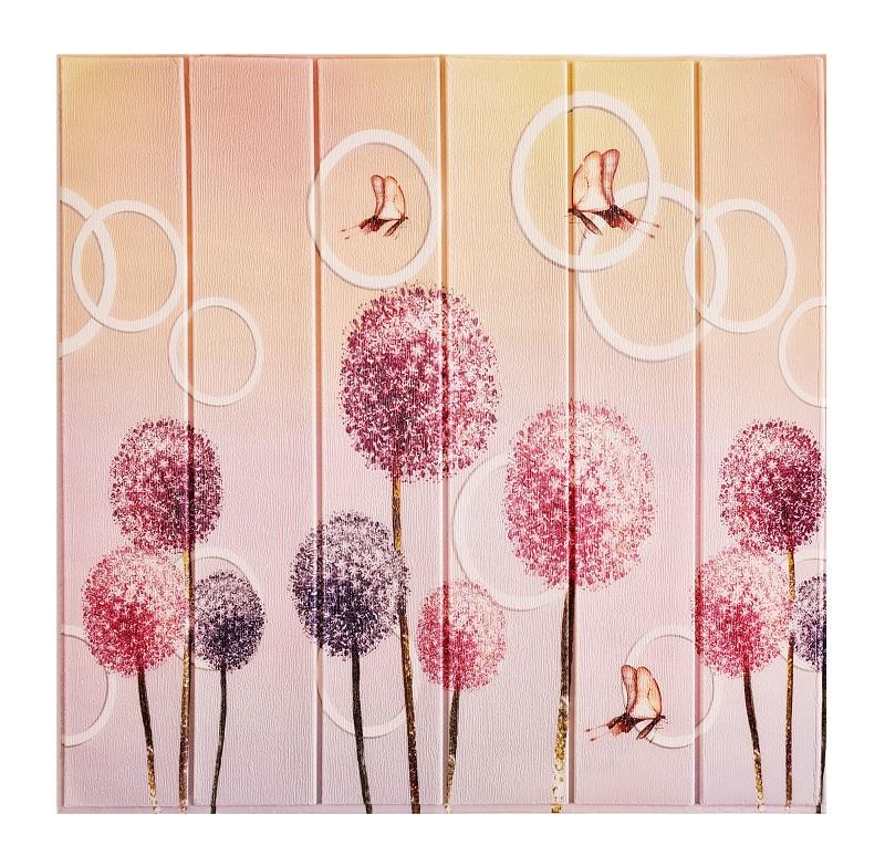 Painel Placa 3D Estilo Madeira Flores e Borboletas Espuma Adesiva 77 X 70 Parede