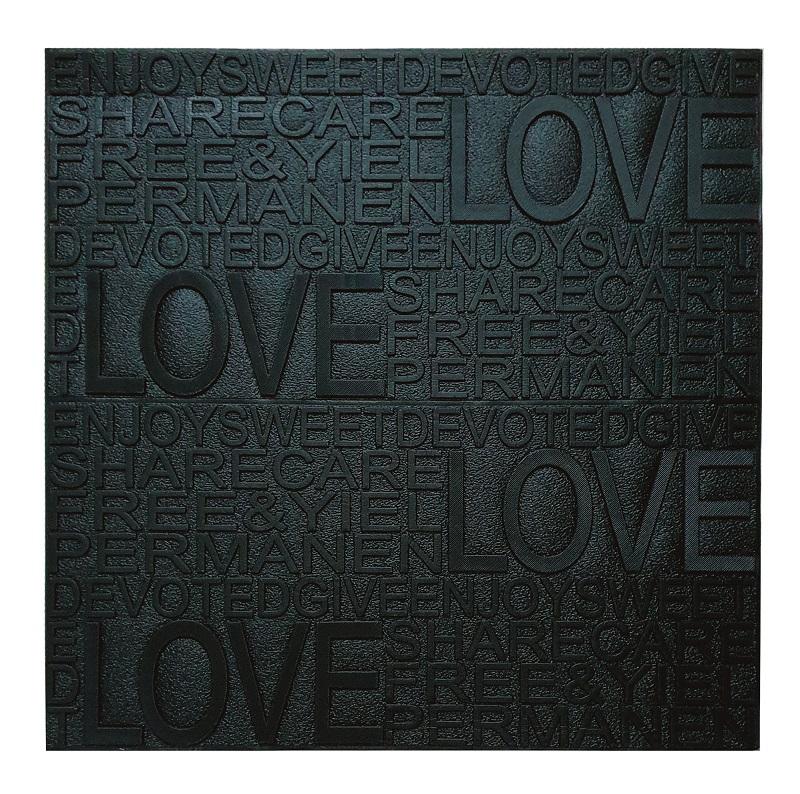 Painel Placa 3D Love Preto Espuma Adesiva 70 X 60 Parede