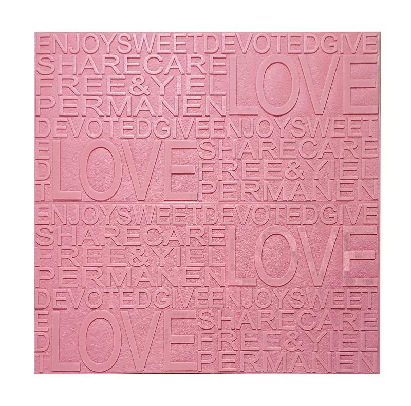 Painel Placa 3D Love Rosa Espuma Adesiva 70 X 60 Parede