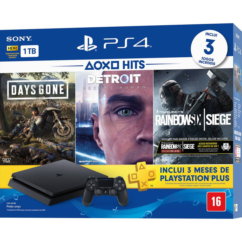 Playstation 4 Slim - 1 Terabyte + 3 Jogos (Days Gone + Detroit + Tom Clancy´s Rainbow Six) (2 Controles)