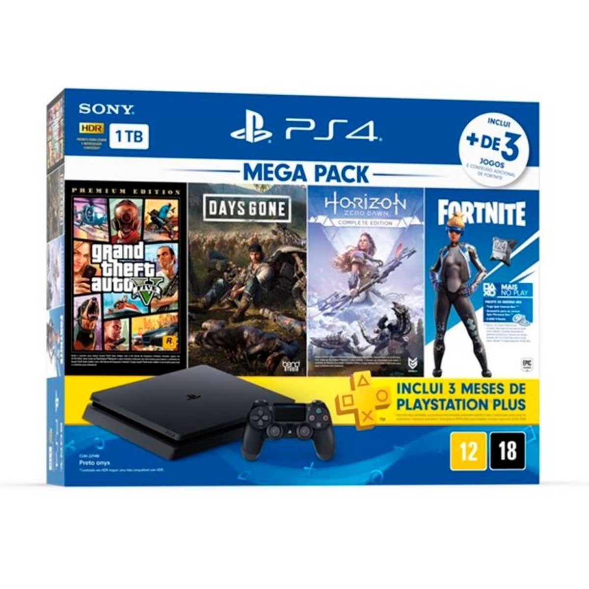 Playstation 4 Slim - 1 Terabyte + 3 Jogos (Days Gone + GTA V + Horizon Zero Dawn + Fortnite) (2 Controles)