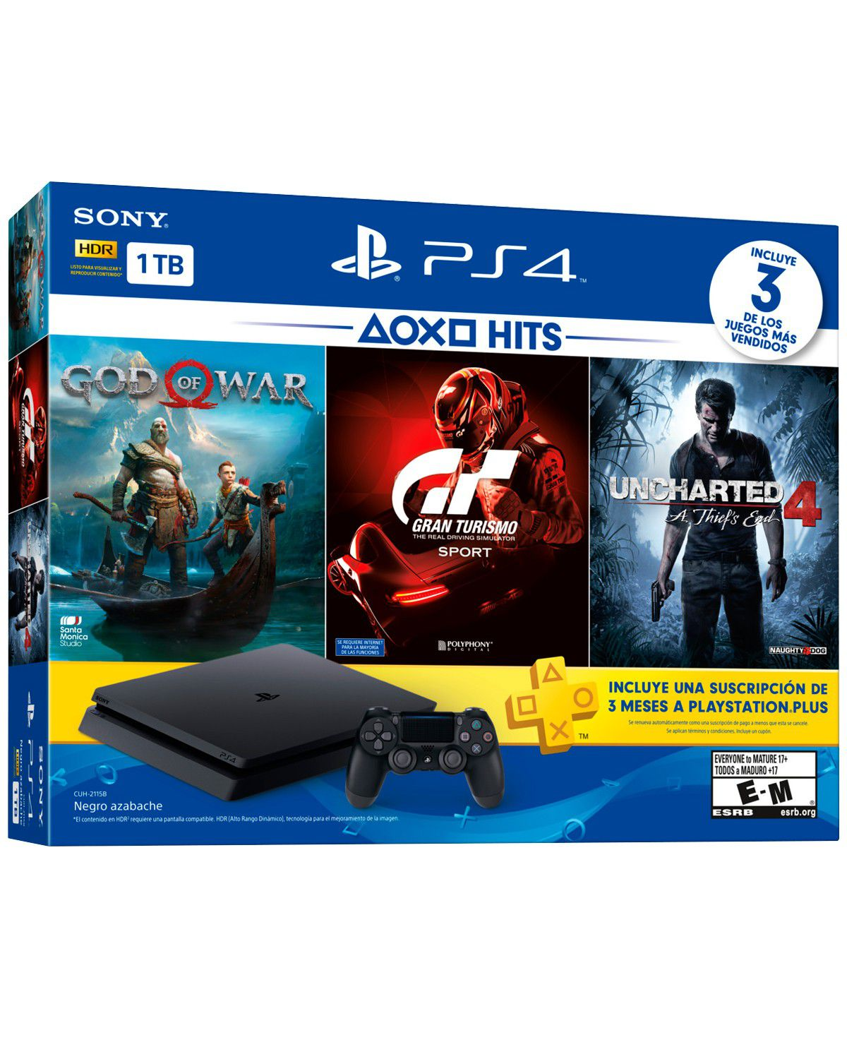 Playstation 4 Slim - 1 Terabyte + 3 Jogos (God of War + Gran Turismo + Uncharted 4) (2 Controles)