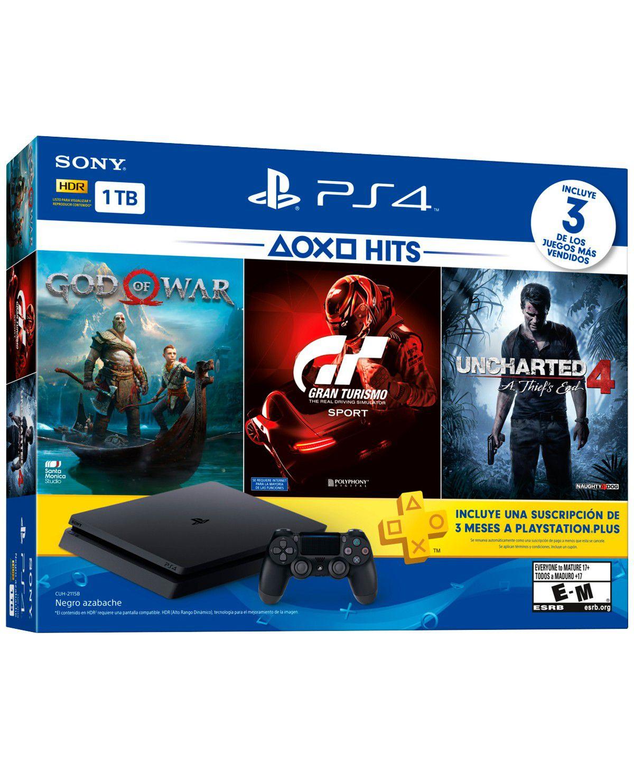 Playstation 4 Slim - 1 Terabyte + 3 Jogos (God of War + Gran Turismo + Uncharted 4) (2 Controles)