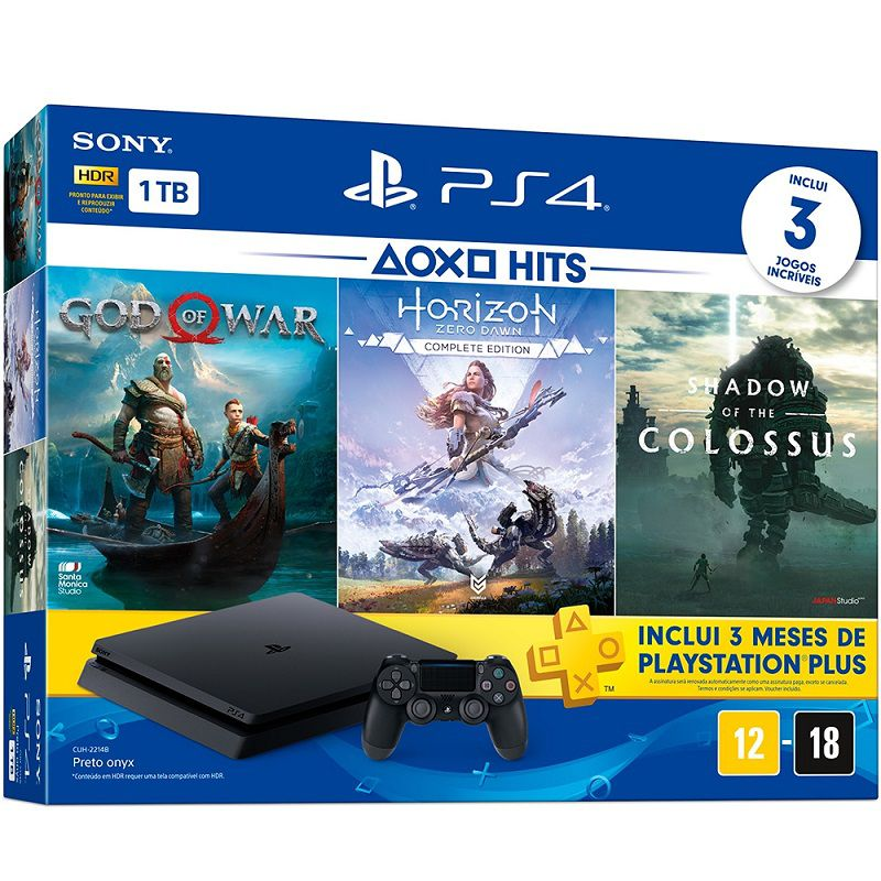 Playstation 4 Slim - 1 Terabyte + 3 Jogos (God of War + Horizon Zero Dawn + Shadow of Colossus) (2 Controles)