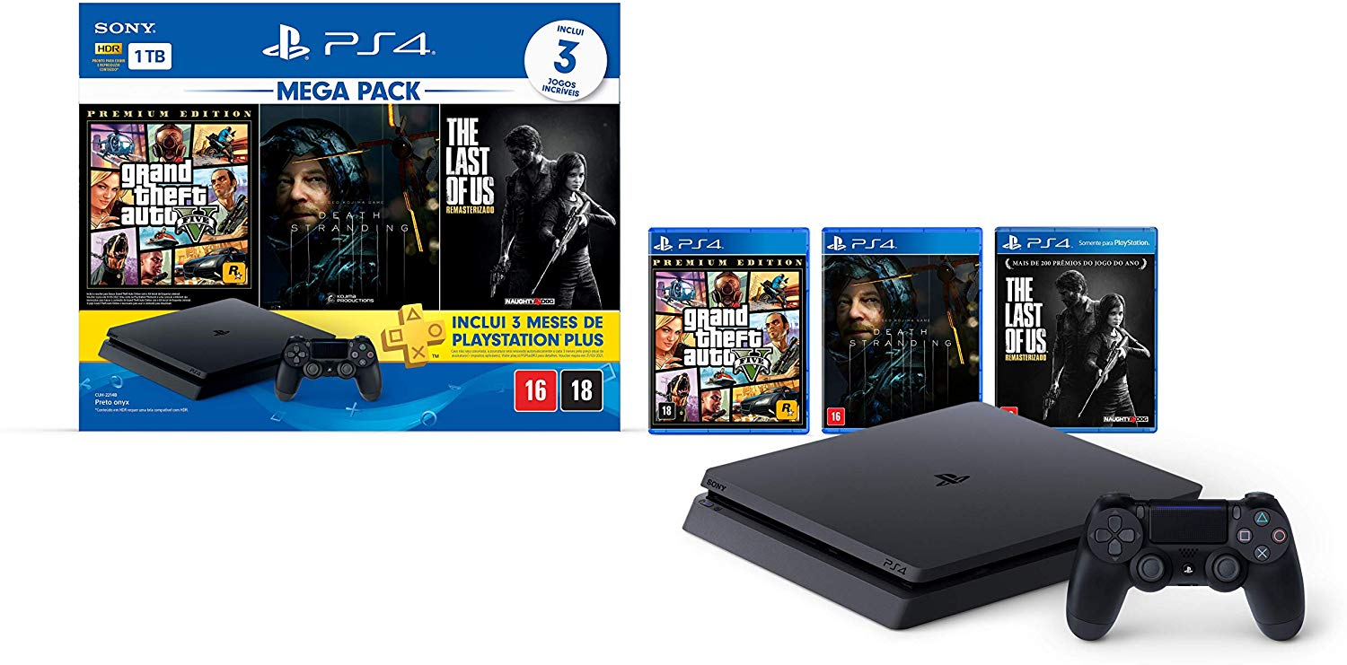 Playstation 4 Slim - 1 Terabyte + 3 Jogos (GTA V + Death Stranding + The Last of US)