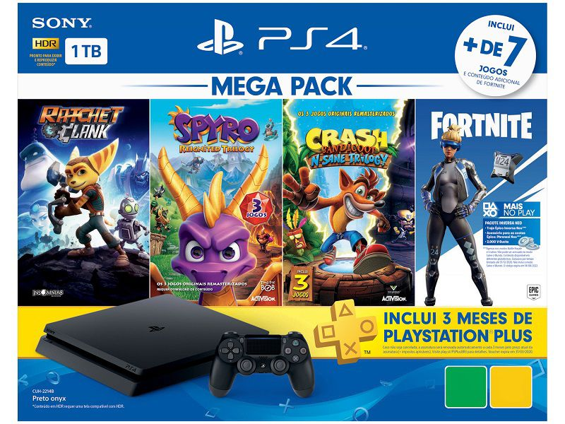 Playstation 4 Slim - 1 Terabyte + 3 Jogos (Ratchet & Clank + Spyro Reignite Trilogy + Crash Bandicoot N´Sane Trilogy) (2 Controles)
