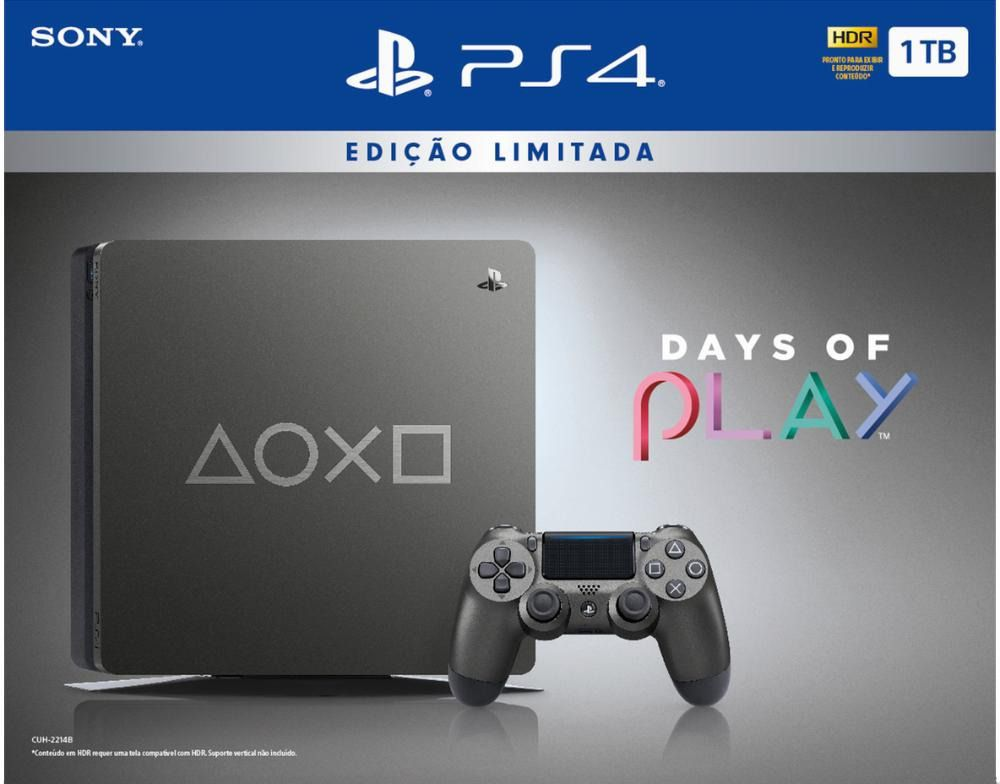 Playstation 4 Slim - 1 Terabyte - Edição Limitada Days Of Play (2 Controles)