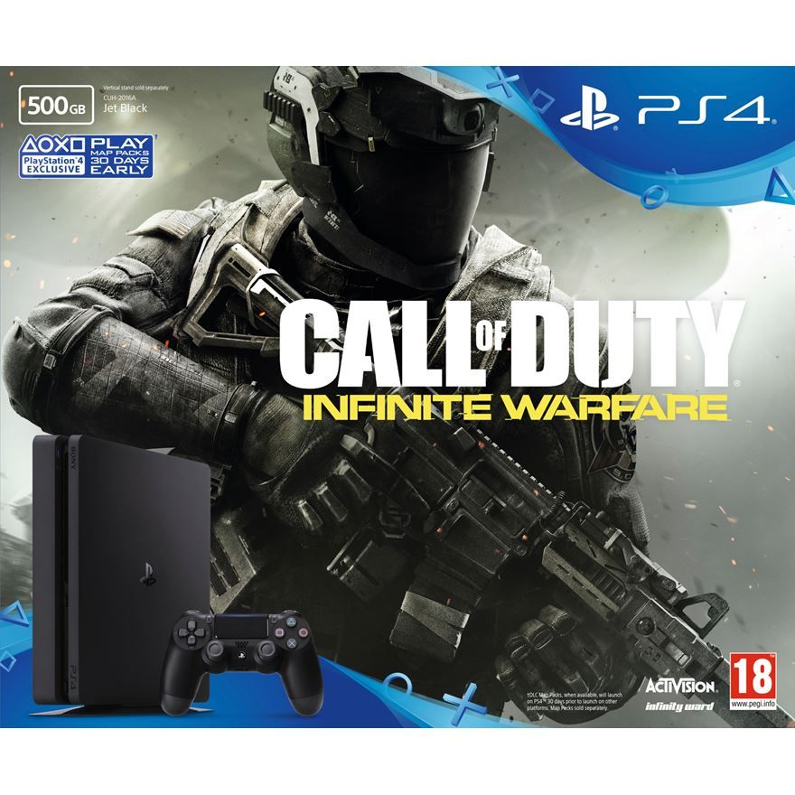 Playstation 4 Slim - 500 Gb - Call of Duty Infinity Warfare + Voucher com  15 Jogos PSN (Brinde) (2 Controles)