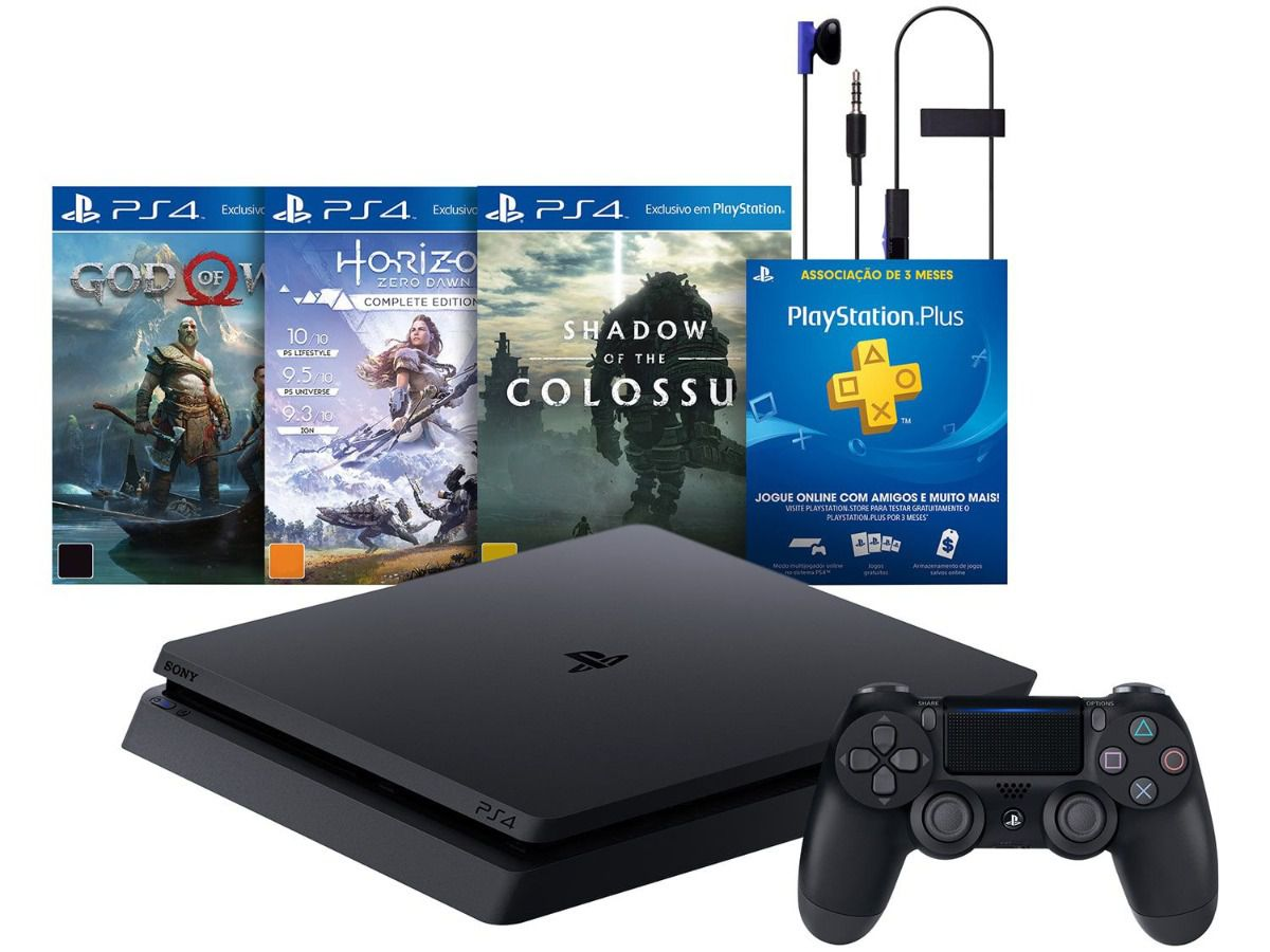 Playstation 4 Slim - 500 Gb Slim + 3 Jogos (God of War + Horizon Zero Dawn + Shadow of Colossus) (2 Controles)