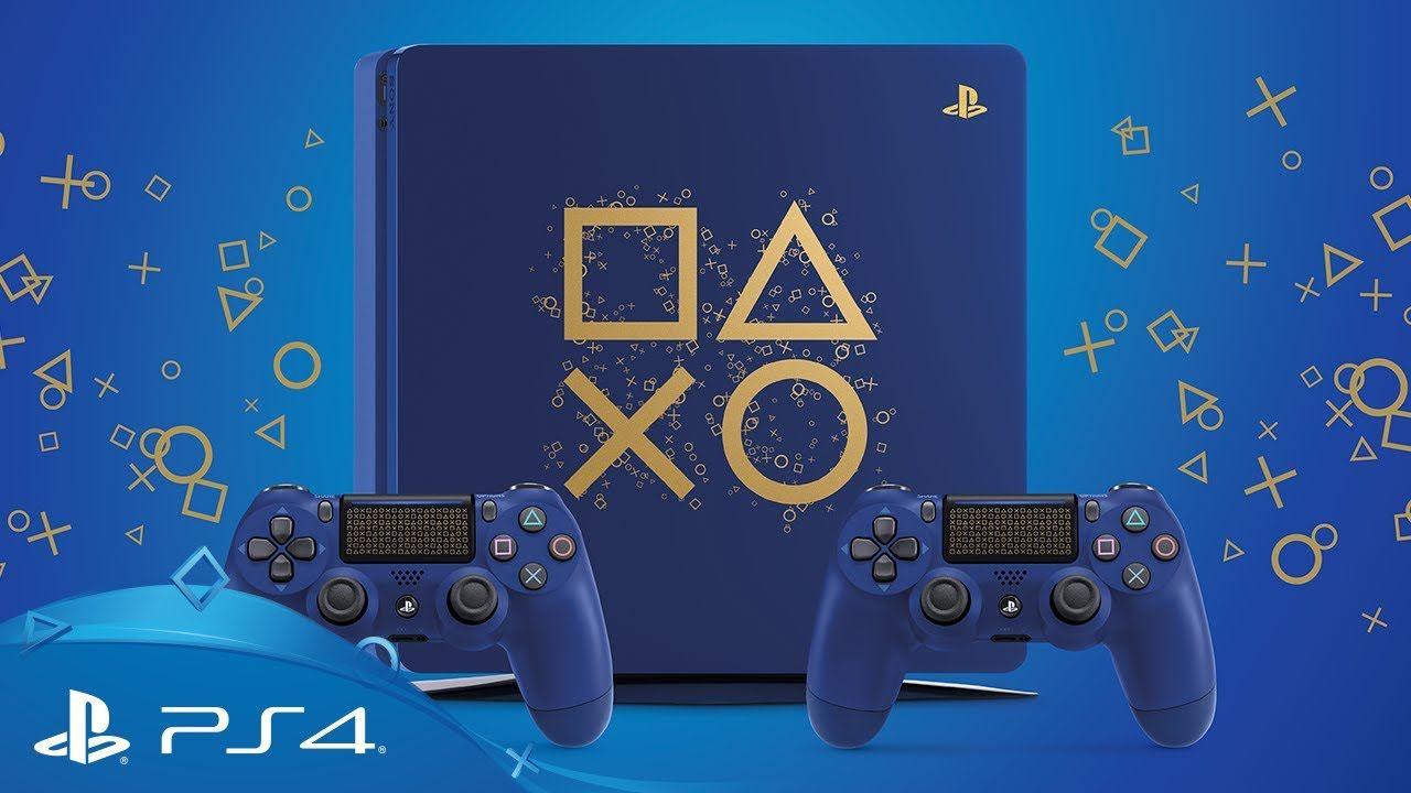Playstation 4 Slim 500Gb Edição Limitada Azul + Voucher com 15 Jogos PSN (Brinde) (2 Controles)