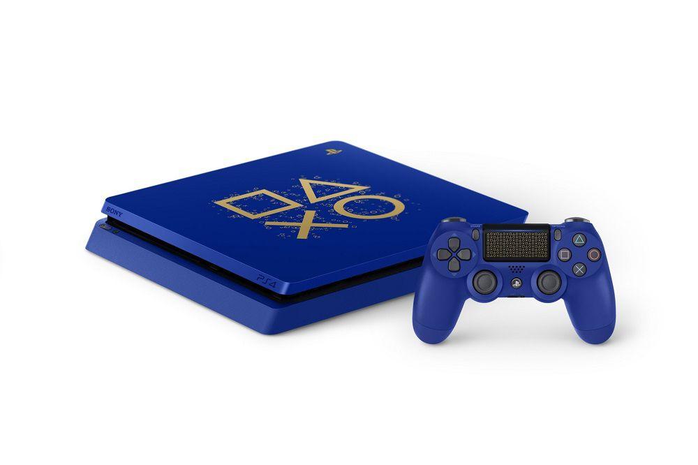 Playstation 4 Slim Edição Limitada Azul - 1 Terabyte + Voucher com 15 Jogos PSN (Brinde) (2 Controles)