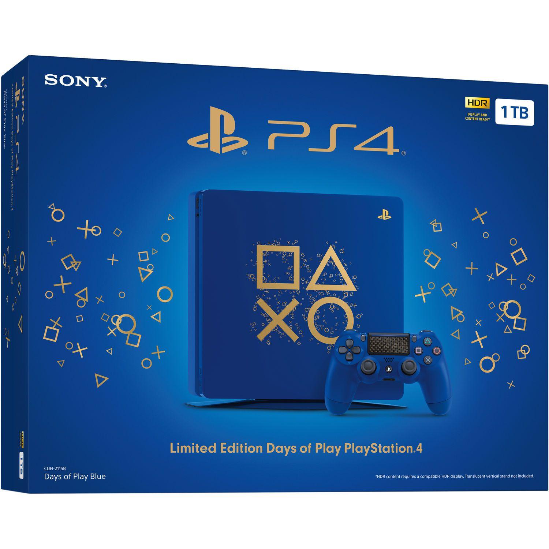Playstation 4 Slim Edição Limitada Azul - 1 Terabyte + Voucher com 15 Jogos PSN (Brinde)