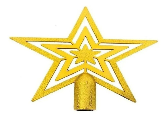 Ponteira Estrela de Árvore de Natal 20cm - Dourado