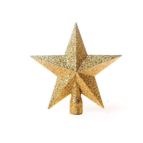 Ponteira Estrela de Árvore de Natal 25cm - Dourado Glitter