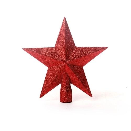 Ponteira Estrela de Árvore de Natal 25cm - Vermelha Glitter