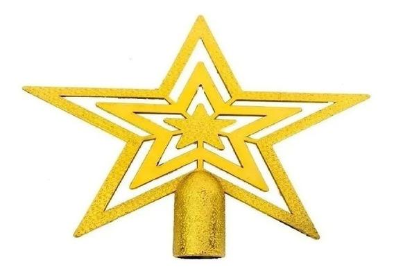 Ponteira Estrela de Árvore de Natal 25cm - Dourado
