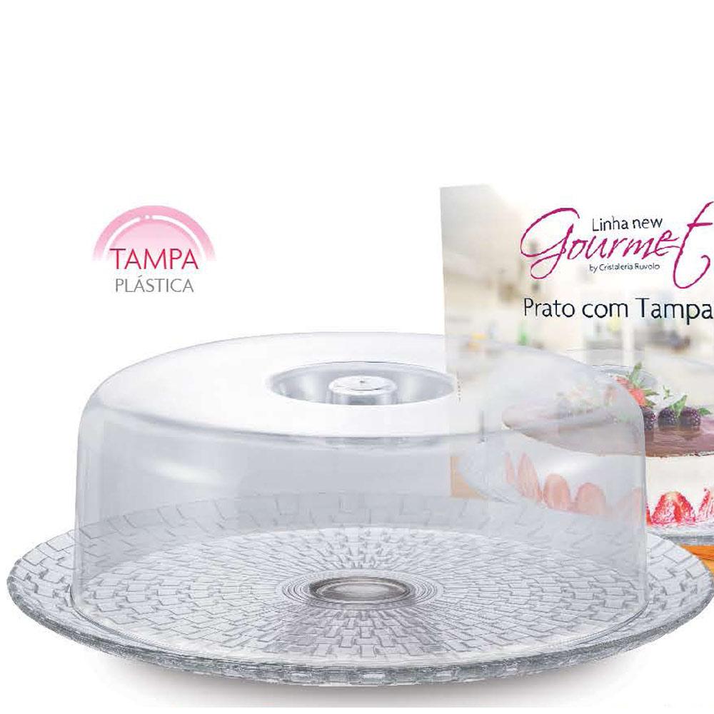 Prato Vidro de Bolo com Tampa Plástica Gourmet - Ruvolo