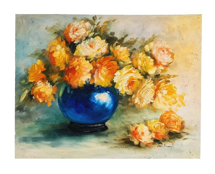 Quadro Pintura a Óleo Flores e Jarro Azul