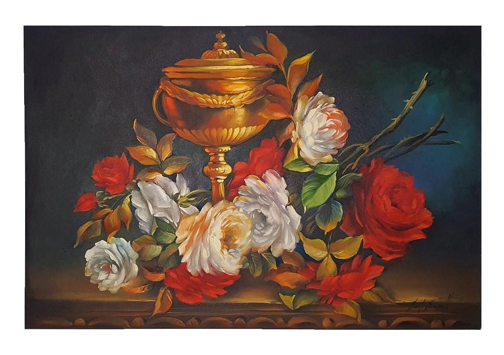Quadro Pintura a Óleo Flores e Jarro - COD. 05