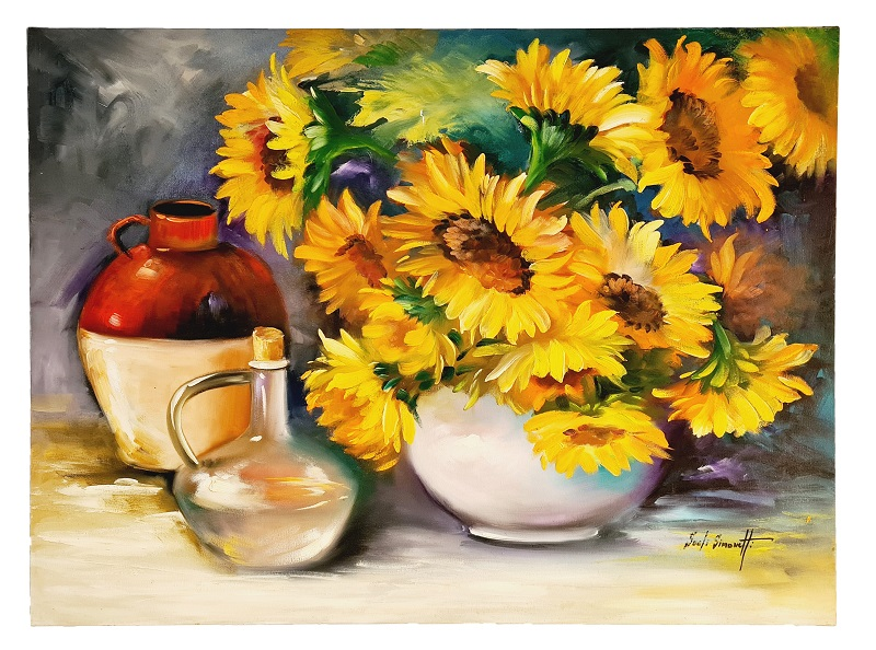 Quadro Pintura a Óleo Flores e Vasos