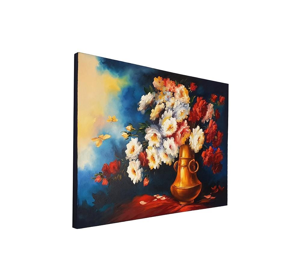Quadro Pintura a Óleo Jarro de Flores - COD. 01
