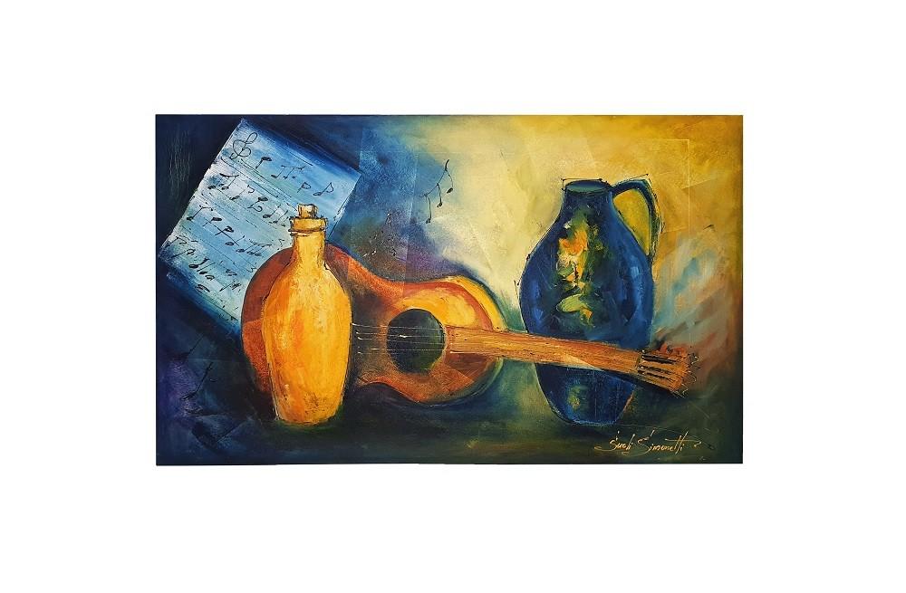 Quadro Pintura a Óleo Violão - COD. 04
