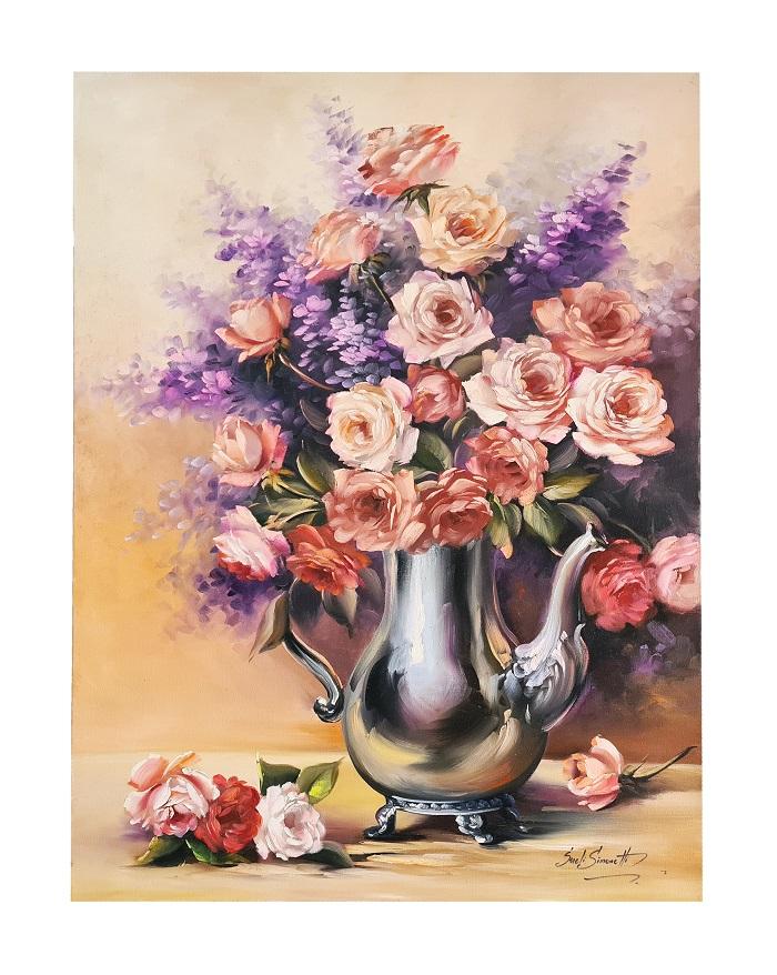 Quadro Pintura a Óleo Violetas e Rosas