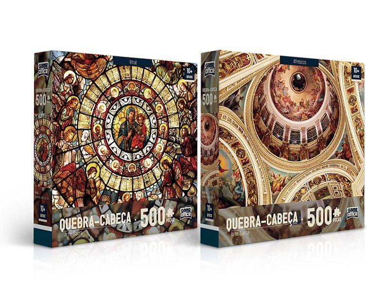 Quebra-cabeça Arte Sacra – Vitral e Afresco - 500 peças (2 modelos)