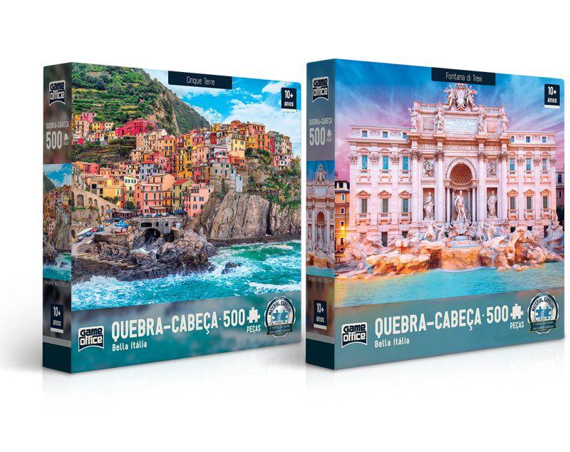 Quebra-cabeça Bella Itália: Cinque Terre e Fontana di Trevi - 500 peças (2 modelos)