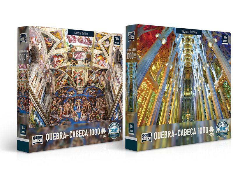Quebra-cabeça Capela Sistina e Sagrada Família - 1000 peças (2 modelos)