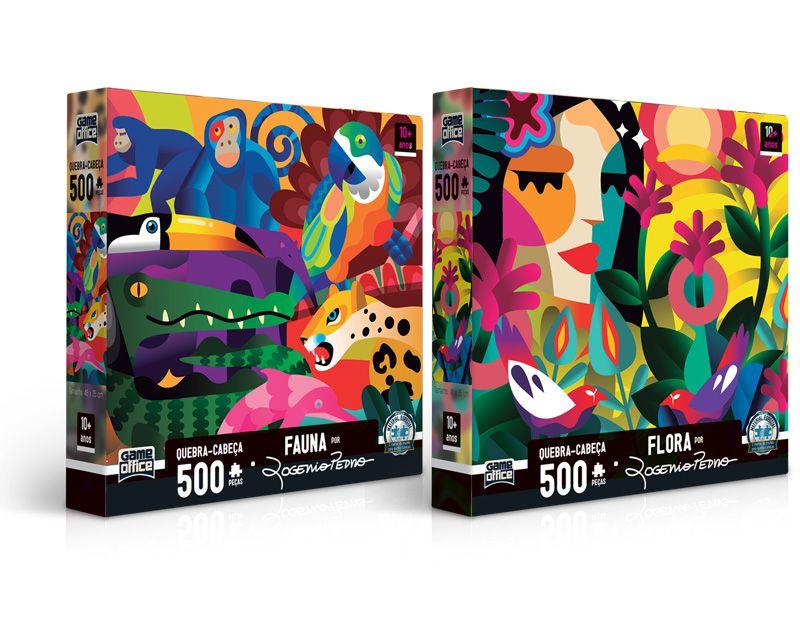 Quebra-cabeça Fauna e Flora por Rogério Pedro - 500 peças (2 modelos)