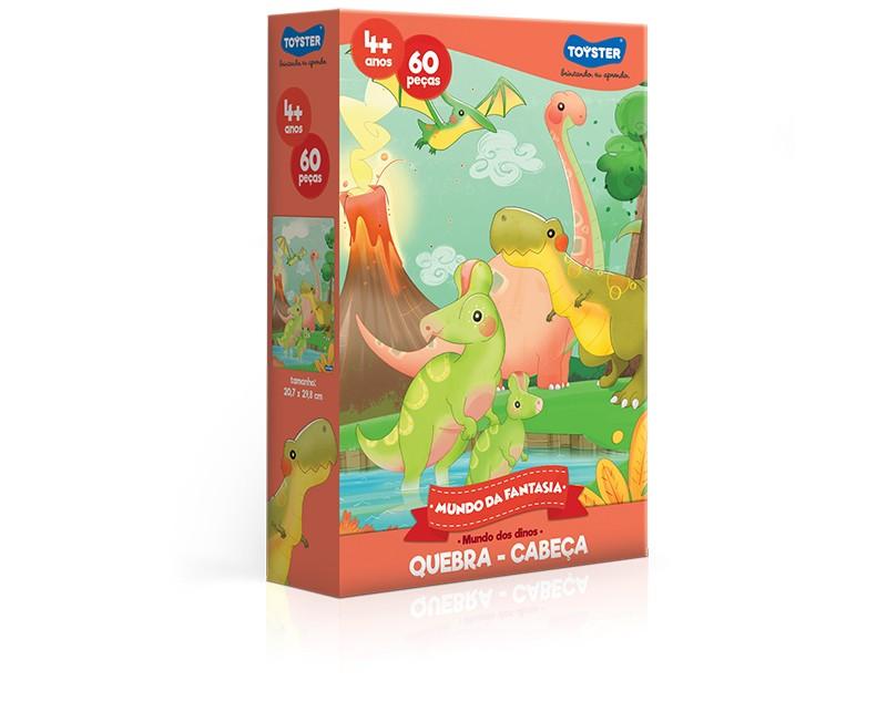 Quebra-cabeça - Mundo da fantasia – Mundo dos Dinos - 60 peças