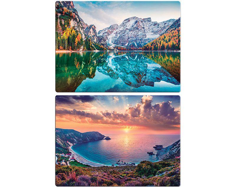 Quebra-cabeça Paisagens deslumbrantes Alpes Italianos e Havaí - 500 peças (2 modelos)