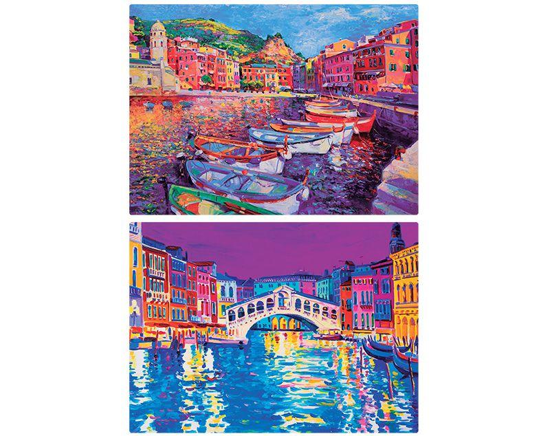 Quebra-cabeça Pinturas da Itália: Cinque Terre e Veneza - 1000 peças (2 modelos)