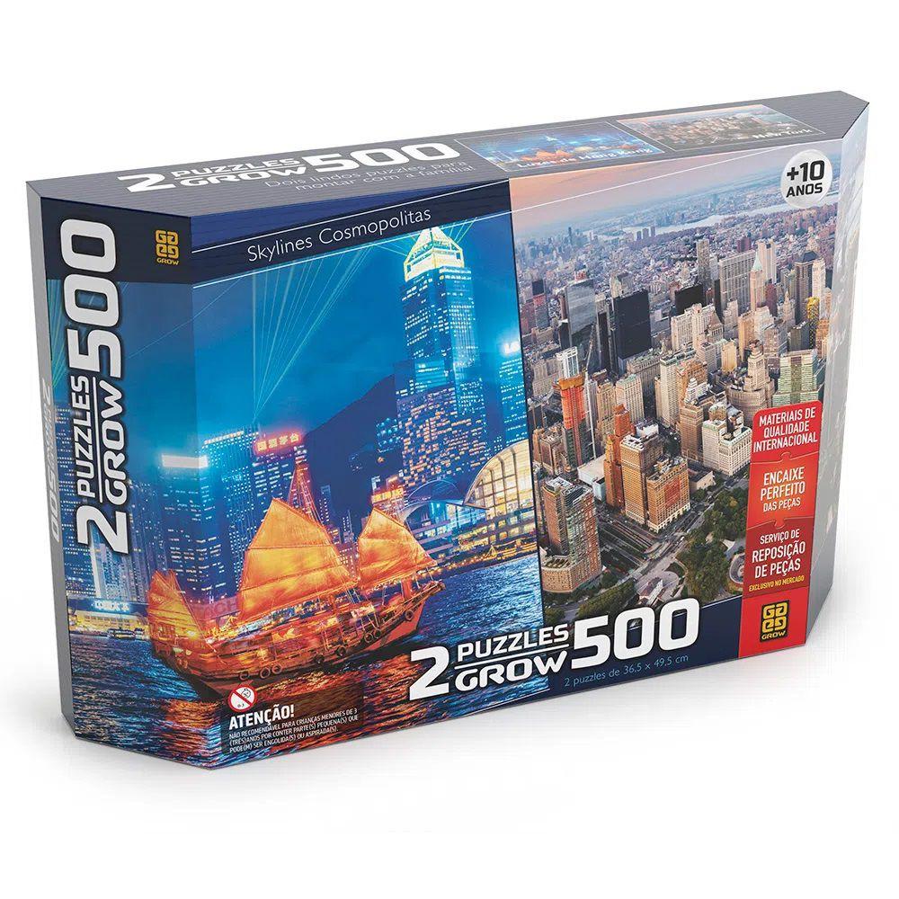 Quebra-cabeça (Puzzle) 500 peças Duplo - Skylines Cosmopolitas