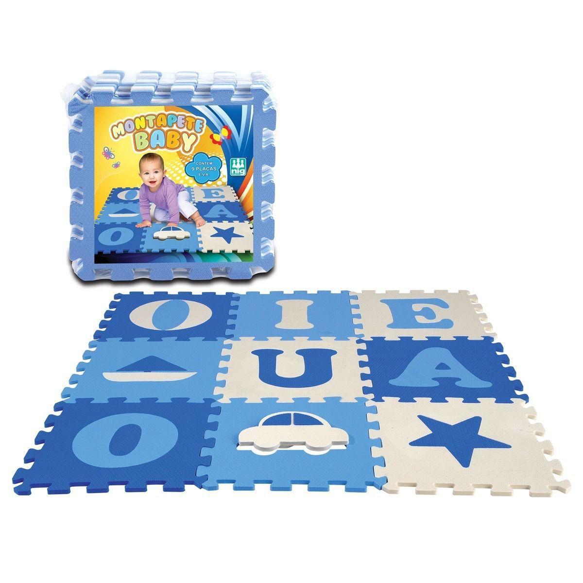 Tapete Infantil EVA com Vogais / Figuras Baby Azul - Nig Brinquedos