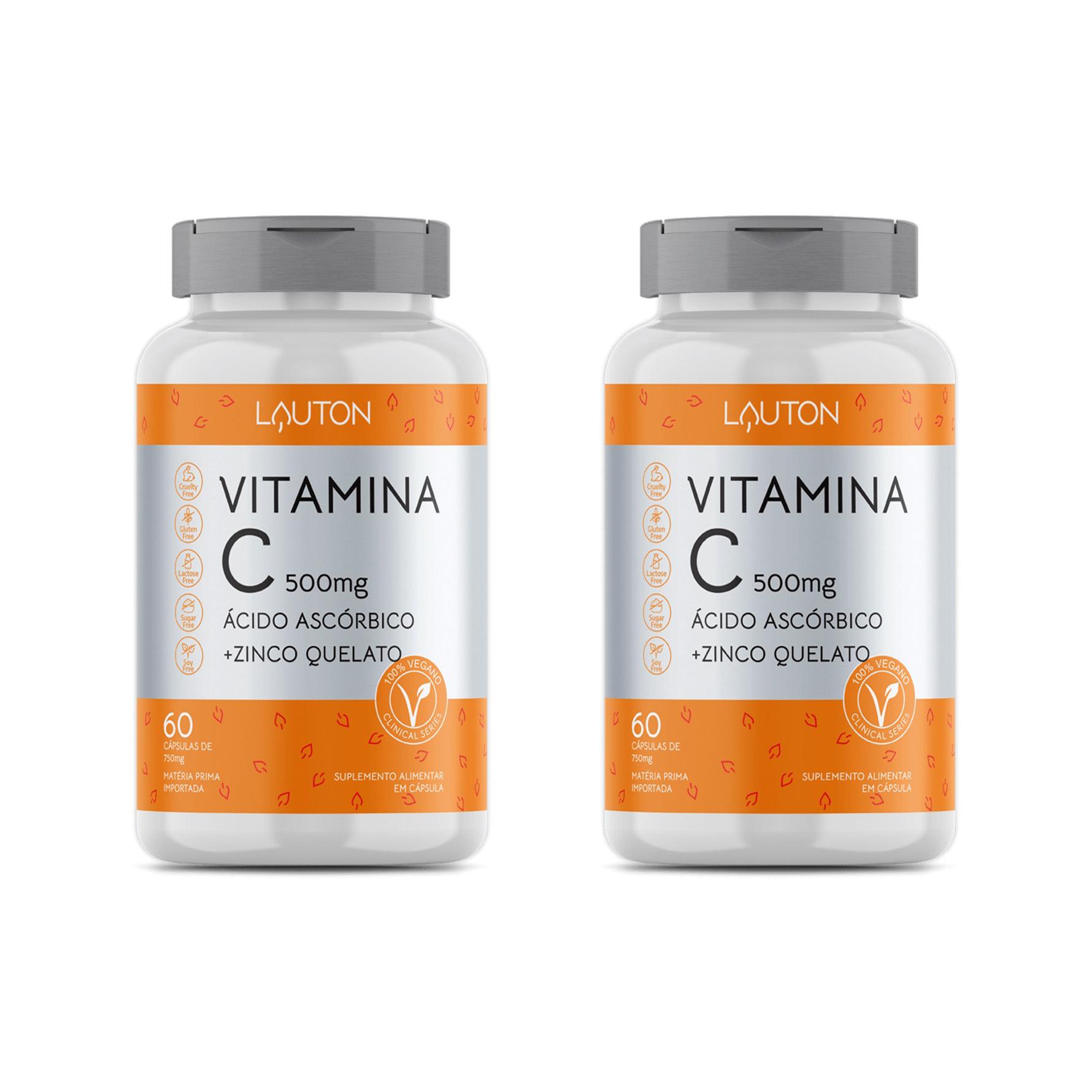 Vitamina C + Zinco 500mg - 60 Cápsulas- Lauton Nutrition (2 Unidades)