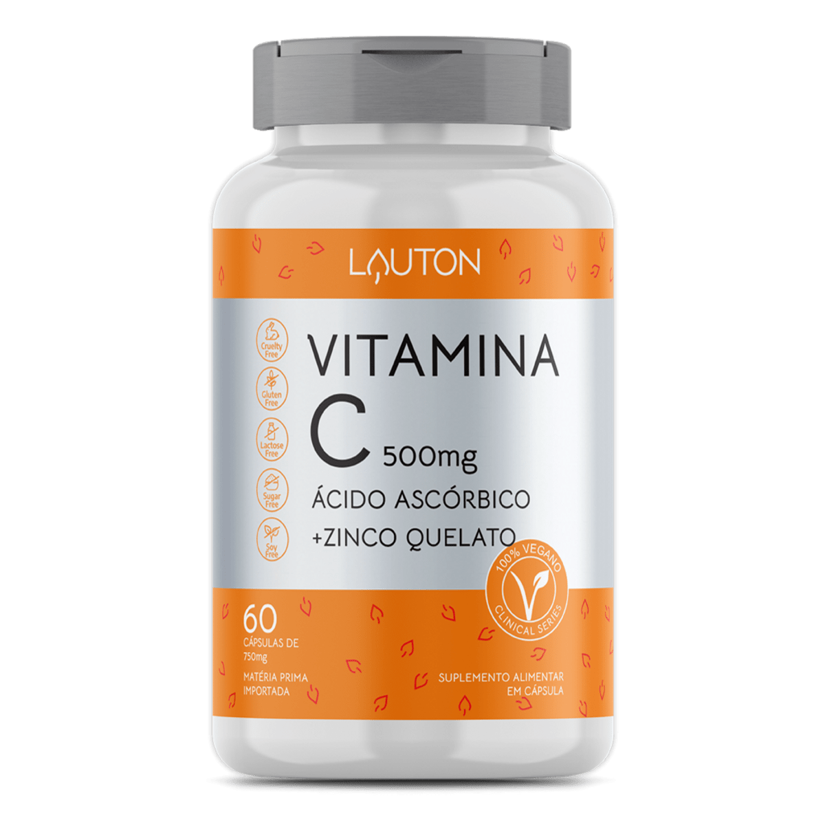 Vitamina C + Zinco 500mg - 60 Cápsulas- Lauton Nutrition