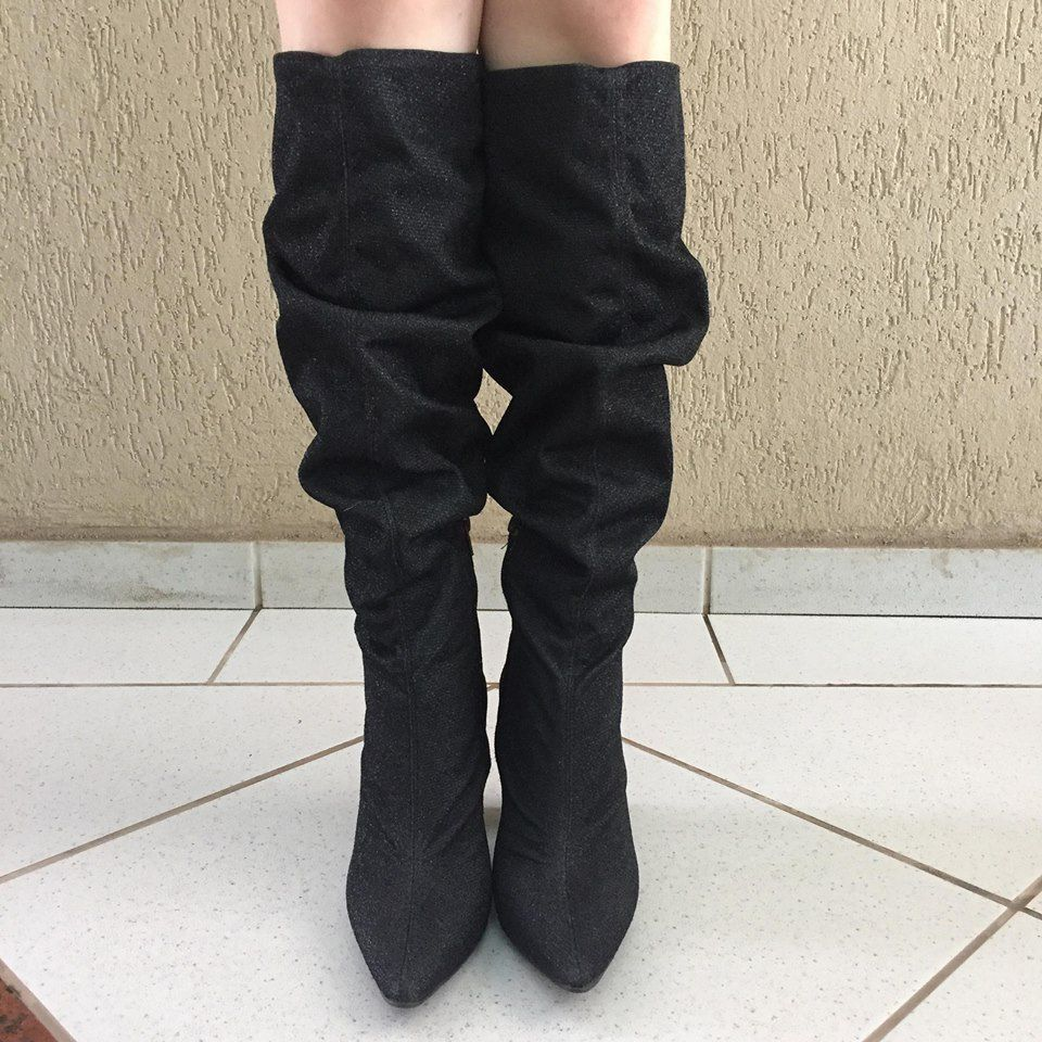 Bota Over The Knee de Lurex Preto Suzana Santos