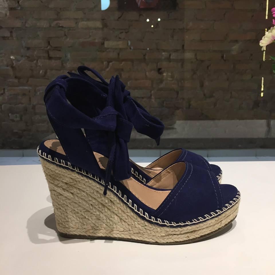 Sandália Anabela Azul Marinho com Amarração Azillê