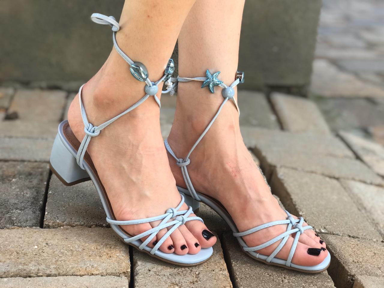 Sandália Azul Claro com Amarração Suzana Santos