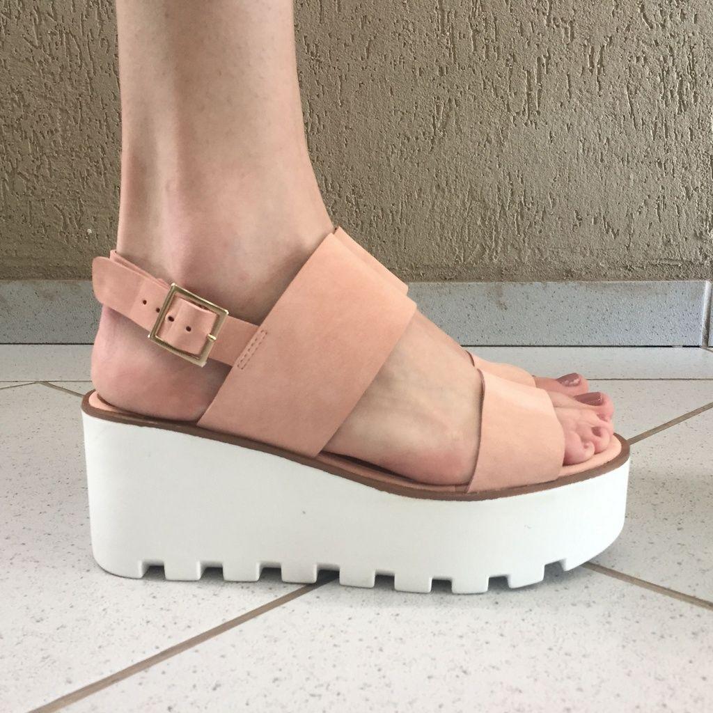 Sandália Flatform de Nobuck Rosa Claro Offline