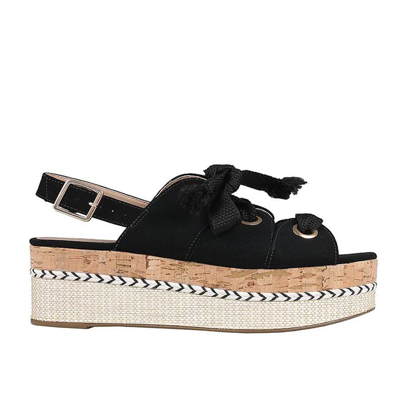 Sandália Flatform Preta com Cadarço e Salto Cortiça Azillê