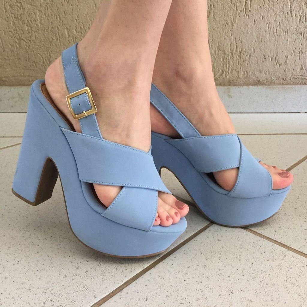 Sandália Meia Pata de Camurça Azul Claro Suzana Santos
