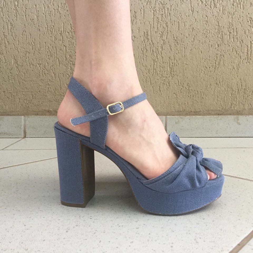 Sandália Meia Pata Jeans com Detalhe de Laço Zatz
